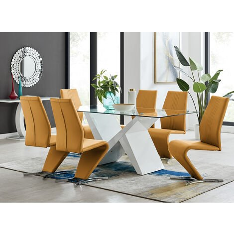 Torino White High Gloss And Glass Modern Dining Table And 6 Willow Chairs Set