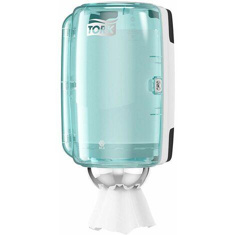 Tork 658000 Mini Distributeur de papier d\'essuyage à dévidage central M1 - Design Performance - Blanc / Turquoise