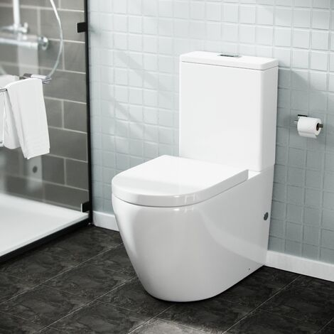 Tornado White Ceramic WC Close Coupled Toilet Pan and Seat