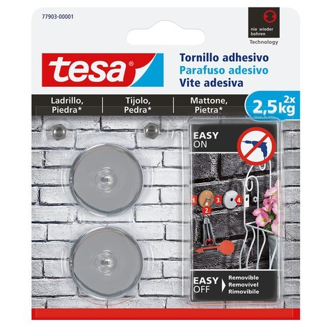 Tornillo adhesivo redondo hasta 2,5kg ladrillo/piedra TESA
