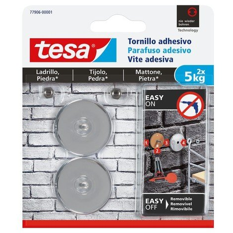 Tornillo adhesivo redondo hasta 5kg ladrillo/piedra TESA
