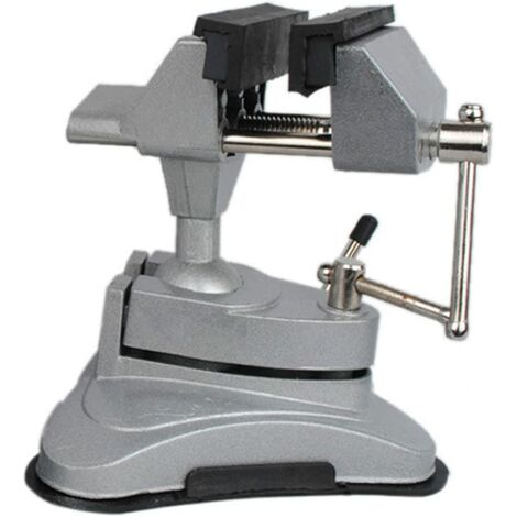 Tornillo de banco de mesa con cabezal giratorio multiángulo LITZEE y base de succión.