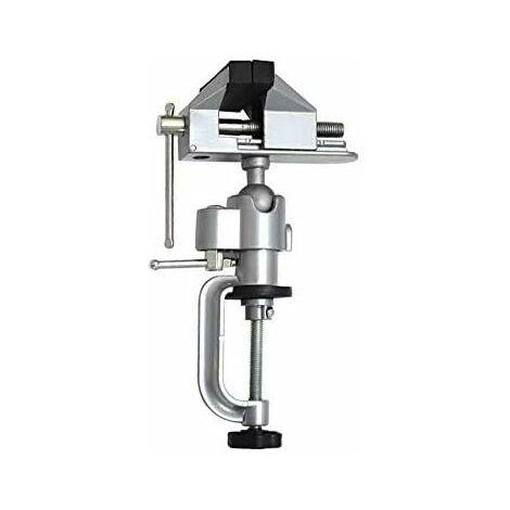 Tornillo de banco de mesa LITZEE, tornillo de banco de aleación de aluminio, unidad de abrazadera giratoria giratoria de 360 °, herramientas de tornillo de banco