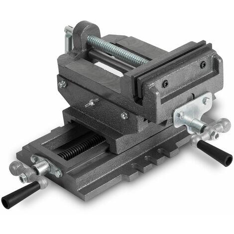 Tornillo de banco en cruz (150 mm Ancho de la mordaza, Envergadura 115 mm, Carrera transversal 130 mm, Guía de cola de milano, Construcción masiva)