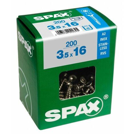 Tornillo r/mad. 03,5x025mm inox c/plana huella torx spax 200