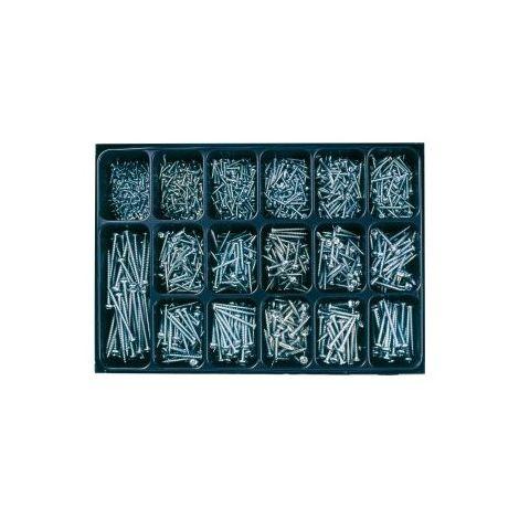 Tornillos para tablero de madera aglomerada, cabeza plana, ranura en estrella Z, azul galvanizado