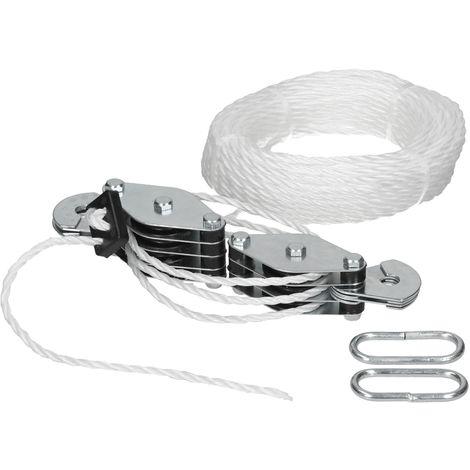 Torno cuerda polea rodillos tren cable elevación carga fuerte 180 KG 20 m nueva