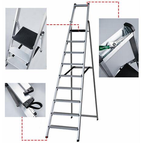 TORO Escalera Resistente XXL Aluminio con Porta Herramienta