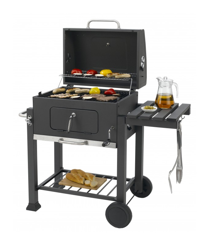 Outsunny BBQ Tripod Charcoal Barbecue High Temperature Powder High-temperature Enamel Adjustable Garden Black 70x70x165cm