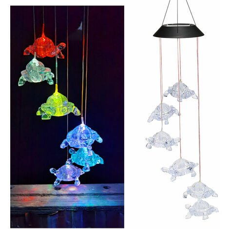 Tortues Solaires Lampe Suspendue Wind Chime Pendant Ip44 Mixcolor Lent Clignotant