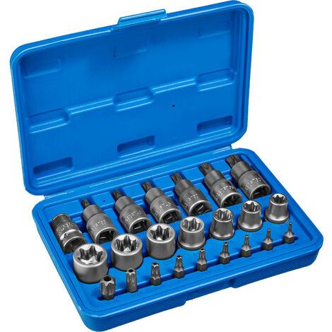 Torx llave tubular juego de puntas 23 piezas - juego de llaves tubulares con maletín, kit de llaves de acero cromo vanadio torx, pack de herramientas manuales para taller - azul
