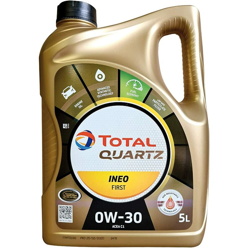 Quartz INEO première 0 W-30 Huile Moteur Entièrement synthétique Low Saps Car, 5 Litre - Total