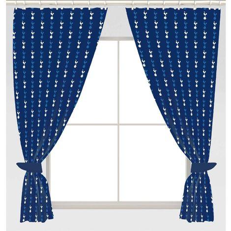 Tottenham Hotspur FC Repeat Crest Curtains (168 x 137cm) (Blue)