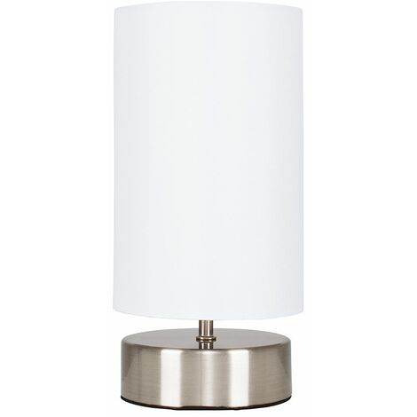 Touch Dimmer Bedside Table Lamp with Light Shade - 5W LED Dimmable Candle Bulb - White - Silver
