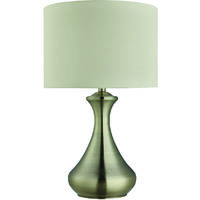 Touch Lamp In Antique Brass Featuring Cream Shade by Washington Lighting