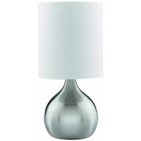 """main image of """"Touch Lamps table lamp 29 cm, in satin silver, white shade"""""""