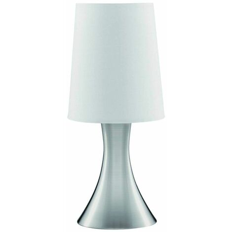 """main image of """"Touch Lamps table lamp 30 cm, in satin silver, white lampshade"""""""