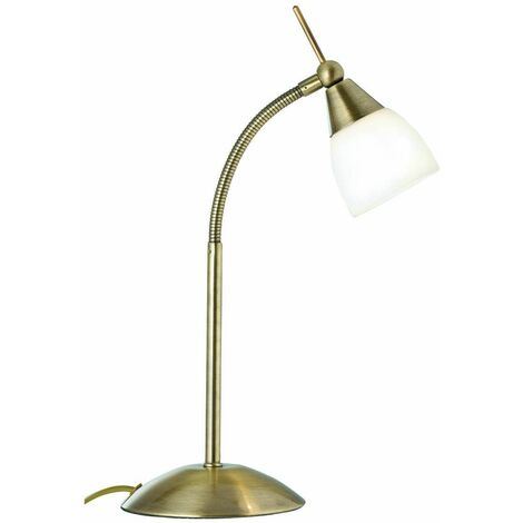 Touch Lamps table lamp, in antique brass and opal glass