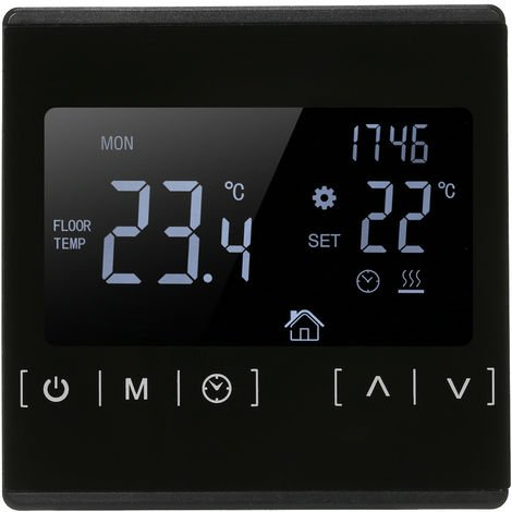 Touch screen electric floor heating thermostat water heating thermostat black