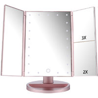 Touch Screen LED Table Makeup Mirror -Three Panels 21pcs Led Light Tabletop Cosmetic Mirror with USB Cable, 2X and 3X Magnification