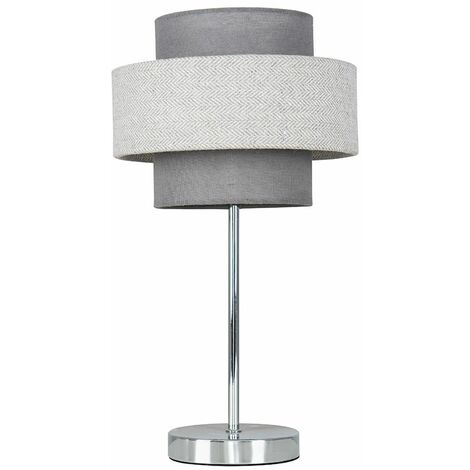 Touch Table Lamp Chrome Finish 4 Stage Dimmer 2 Tier Shades - Grey