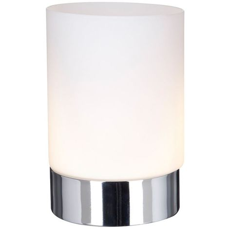 TOUCH TABLE LAMP METAL 1 LIGHT CHROME - OPAL WHITE GLASS SHADE