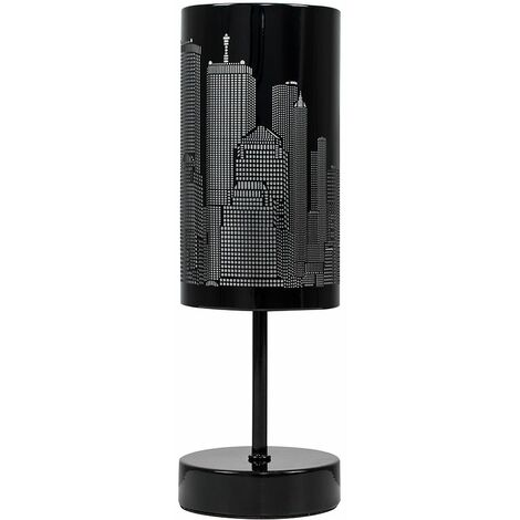 Touch Table Lamp New York Skyline Cut Out Black - No Bulb - Black