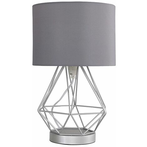 Touch Table Lamp Silver Geometric Shades Dimmer - Silver