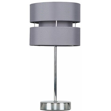 Touch Table Lamps Chrome Lighting Grey Lampshade Dimmer Lighting - No Bulb - Silver