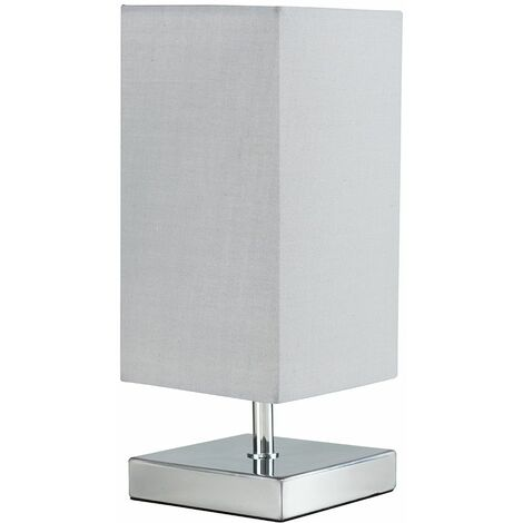 Touch Table Lamps Chrome Square Fabric Lampshades Light - Silver