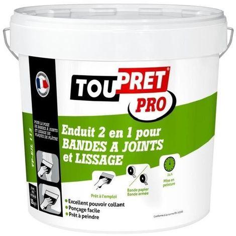 TOUPRET ENDUIT 2 EN 1 POUR BANDES A JOINTS ET LISSAGE PÂTE 15 KG TP-EJL112 TPEJL15