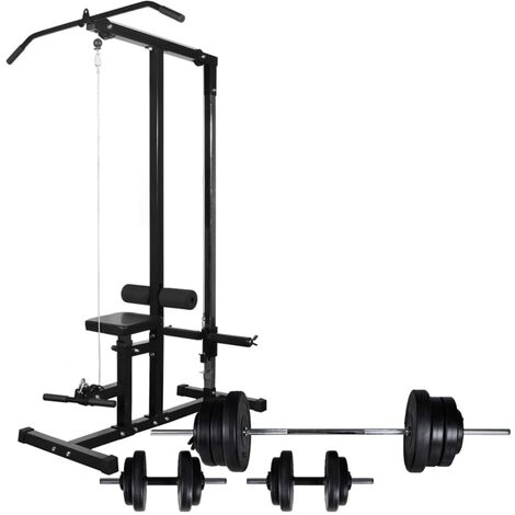 Tour de musculation avec jeu d'haltères et poids 60,5 kg