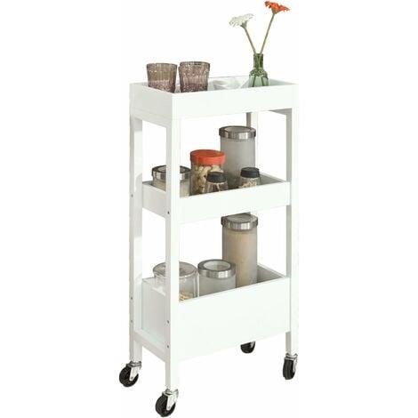 Tour de rangement Desserte Chariot de stockage en bois Meuble de rangement – 3 étagères, 4 roulettes –Blanc SoBuy® FKW49-W