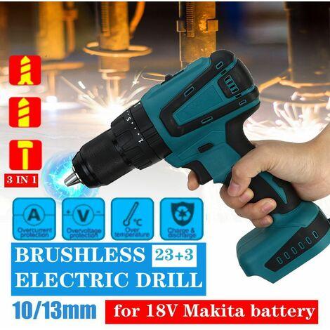 Tournevis électrique sans balai rechargeable 18V 3IN1 13mm pour outils électriques Makita Convient pour batterie Makita 18V (non incluse)