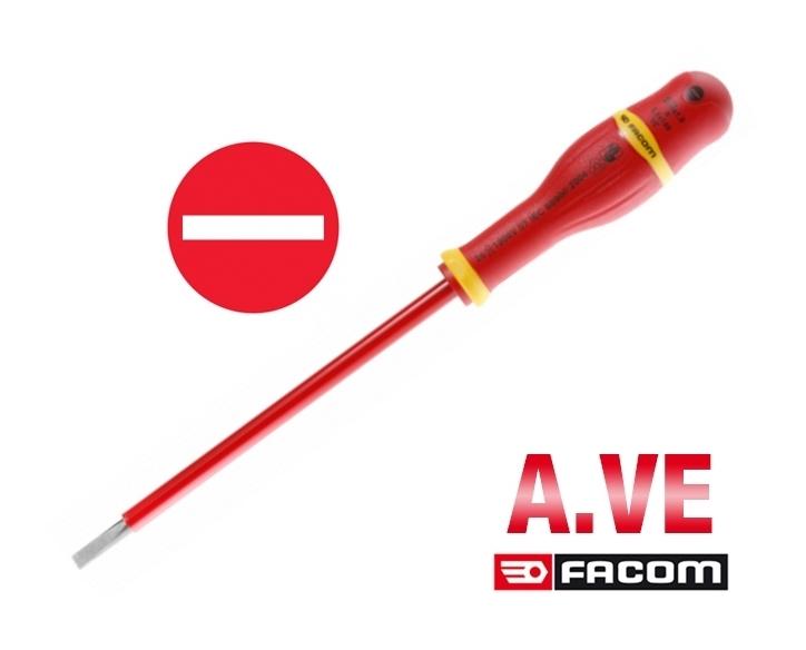 Tournevis protwist isolés 1000V pour vis à fente A.VE Facom (2,0 x 75 mm)