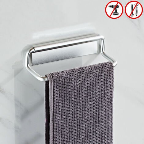 """main image of """"towel holder wall rack, aluminum space towel ring, black towel holder towel ring for bathroom and kitchen 20cm, (silver)"""""""