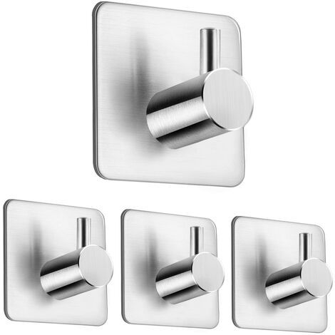 Towel hooks Self-adhesive towel rack for bathroom and kitchen Hooks without drilling 4 pieces