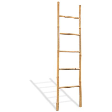 Towel Ladder with 5 Rungs Bamboo 150 cm