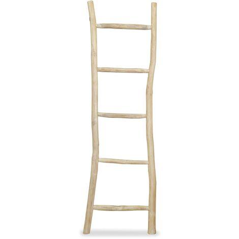 Towel Ladder with 5 Rungs Teak 45x150 cm Natural - Brown