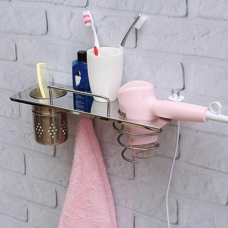 Towel Rack Hair Dryer Hook Bathroom Storage 304 Stainless Steel