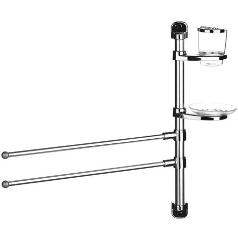 Towel rail,two rails/soap holder/toothbrush holder,wall mountable