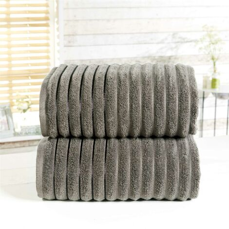 Towel Set 100% Cotton Charcoal Grey 2 Piece Bath Sheets Ribbed New