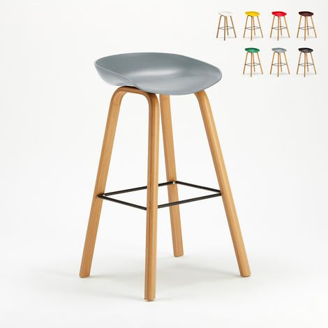 TOWERWOOD Bar & Kitchen Stool Made Of Metal And Eco Wood