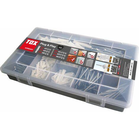 TOX Coffret assortiment Plug & Play, 320 pièces, cheville universelle avec vis - 01190101