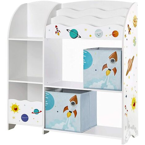 Toy and Book Organiser for Kids, Multi-Functional Storage Unit with 2 Storage Boxes, High Capacity, Universal Theme, for Playroom, Bedroom, Living Room, White GKR42WT