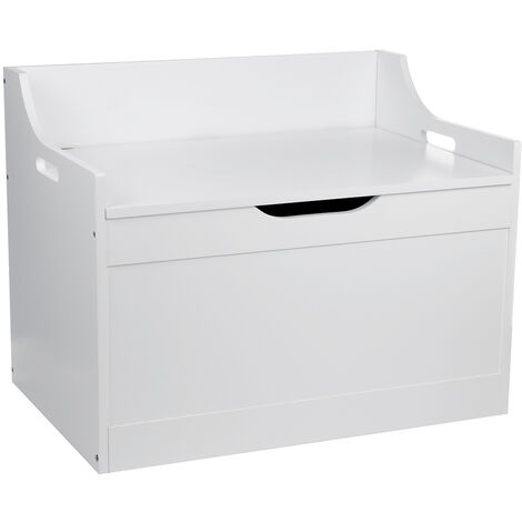 Toy Box Wooden Storage Lid with White Gray Lid for Children (White)