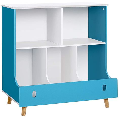 Toy Storage Unit and Bookcase, Multifunctional Toy and Book Organiser Shelf for Kids, Cabinet with Cubby Bin, Lake Blue and White GKR43WB