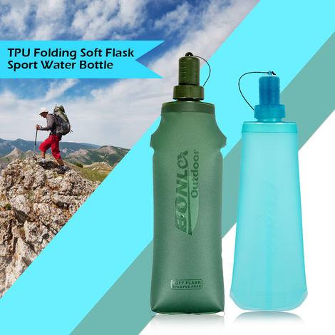 Tpu Souple Pliant Flask Sport Bouteille D'Eau Courante Camping Randonnee Sac D'Eau Pliable Boisson Bouteille D'Eau, Vert Fonce, 250 Ml
