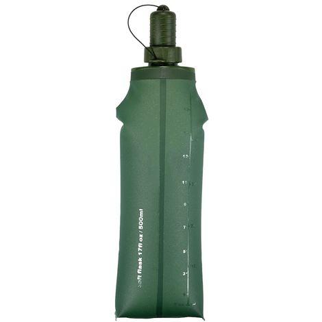 Tpu Souple Pliant Flask Sport Bouteille D'Eau Courante Camping Randonnee Sac D'Eau Pliable Boisson Bouteille D'Eau, Vert Fonce, 500 Ml