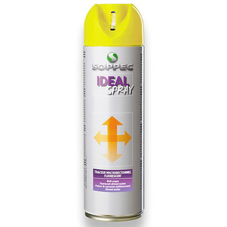 Traceur de chantier fluorescent multidirectionnel IDEAL SPRAY 500 ml de couleur Rouge - 141813 - Soppec - Rouge